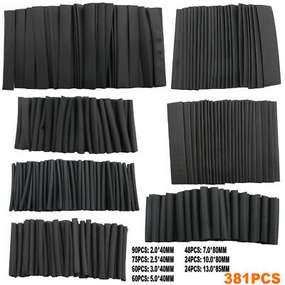 381pcs Black Glue Durable Heat Shrink Sleeving Tubing Tube Assortment Kit Best