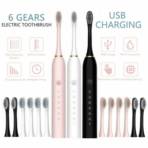 Sonic Electric Toothbrush Rechargeable Brush Heads USB Charger 6 Modes 4 Heads