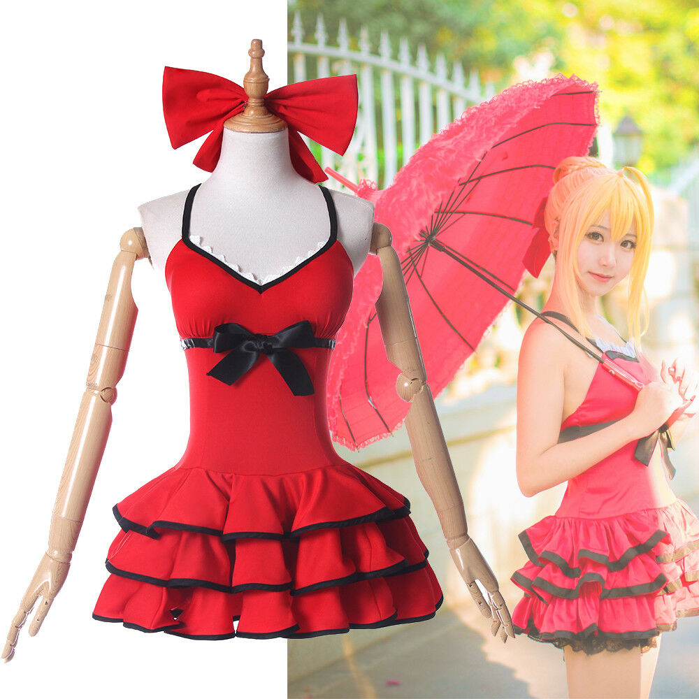FGO Fate Grand Order Nero Cosplay Costume Red Dress Summer Swimsuit