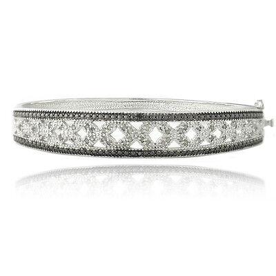 0.50ct TDW Treated Black & White Diamond Bangle Bracelet in (Tdw Diamond Bangle)