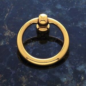 Cabinet Pendant Furniture Hardware Drawer Drop Ring Pull Knob Polished Brass