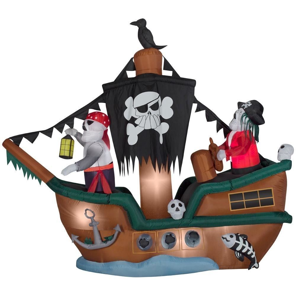 Outdoor Halloween Decoration 10 Ft. Animated Inflatable Skeleton Pirate Ship