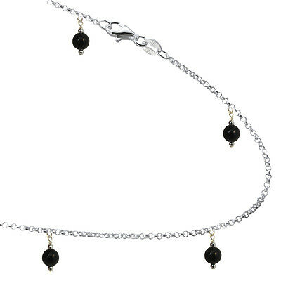 6mm Black Onyx Colored Beads with Sterling Silver Link Bracelet Anklet 7