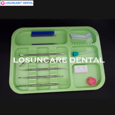 2pcs Dental Separate Divided Tray Plastic Autoclavable Instrument Container