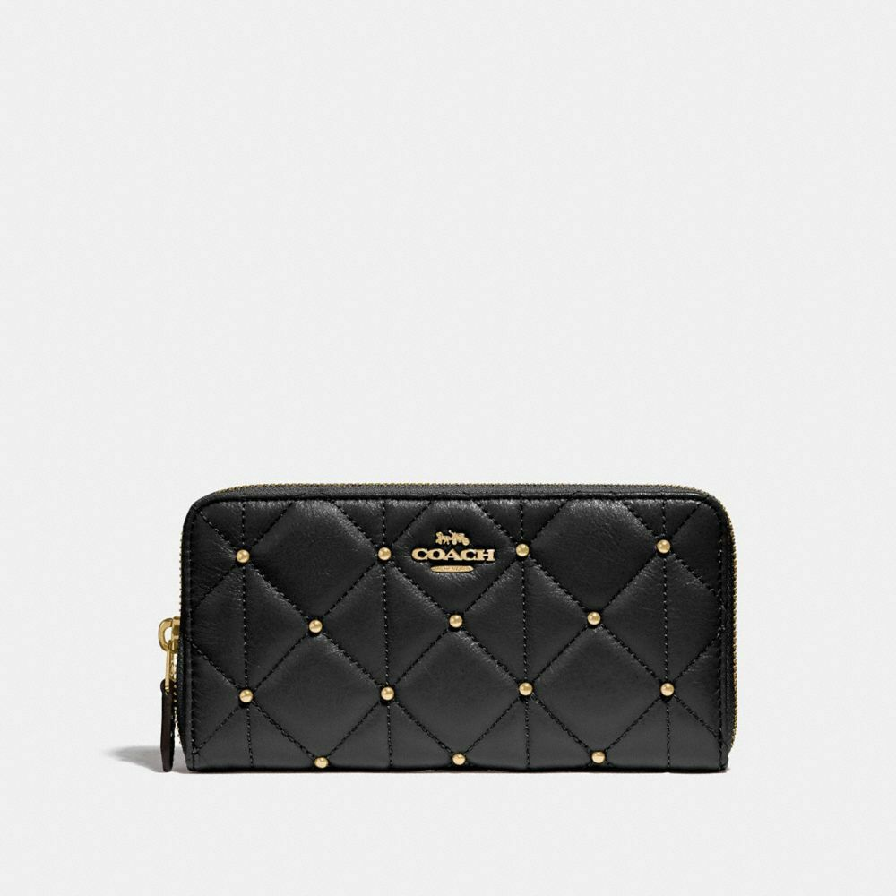 Coach Accordion Zip With Quilted Calf Leather Black Wallet