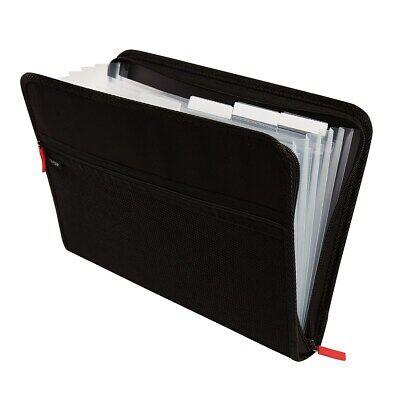 Staples 7-Pocket Expanding Zip Fabric File Black Letter Size (51818) - Expanding Pocket Letter