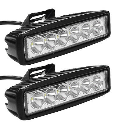 2× 6INCH 18W LED WORK LIGHT BAR SPOT LIGHTS OFFROAD FOG 4WD BOAT UTE SUV