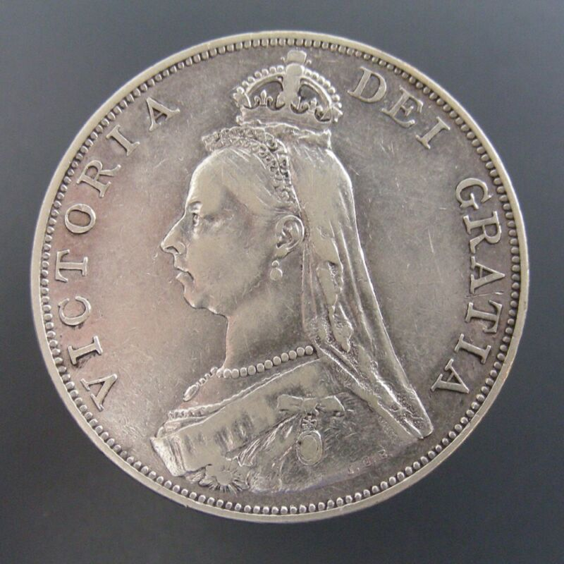 Great Britain 1889 Double Florin Silver Large Size Coin