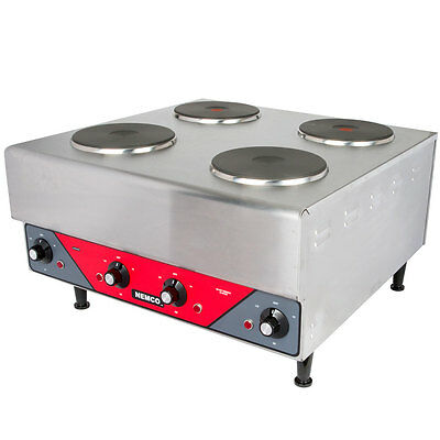 Nemco 6311-2-240, Countertop Raised Vertical Four Burner Electric Hotplate, NSF,