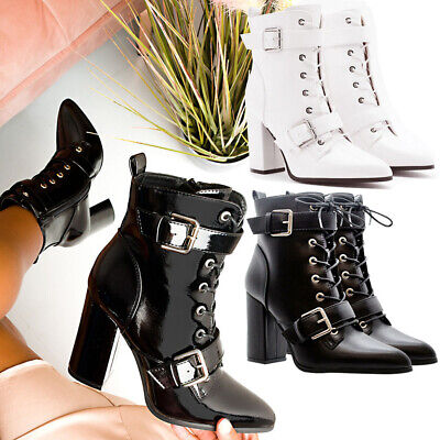 Women Block Heels Goth Punk Shoes Ladies Pointed Lace Up Buckle Ankle Boots Size