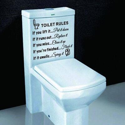 Wall Sticker Vinyl Art Decal Bathroom Restroom Decor Removable Toilet Rules -
