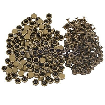 200pcs 9mm Bronzy Metal Round Flat Rapid Rivets Leather Craft Punk Studs Stuff