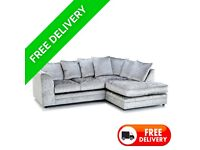 Right Hand Dylan Crush Velvet Corner Sofa with free matching footstool & free delivery
