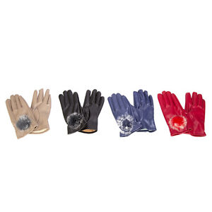NEW LADIES FAUX LEATHER WARM WINTER GLOVES