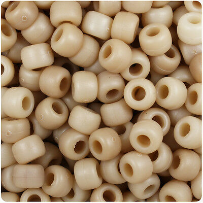 Pony Bead Plastic Light - 500 Light Bone Mix Matte 9mm Barrel Plastic Pony Beads Made in the USA
