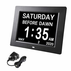 Large Digital LCD Day Clock Dementia Week Date Calendar 8-Alarm Time
