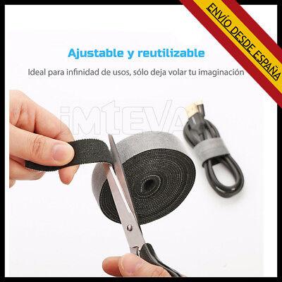 Organizador de cables doble cara nylon rollo velcro reutilizable 1 Metro