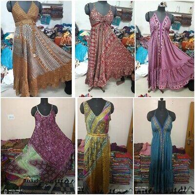 WHOLESALE LOT-INDIAN VINTAGE SILK DRESS HIPPY BOHO SUMMER DRESSES FOR WOMEN