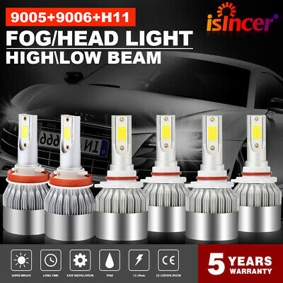 Combo 9005 + H11 + 9006 CREE LED Headlight Kit Hi Low Beam 6000K 4950W 585000LM  - Led Lights Bulk