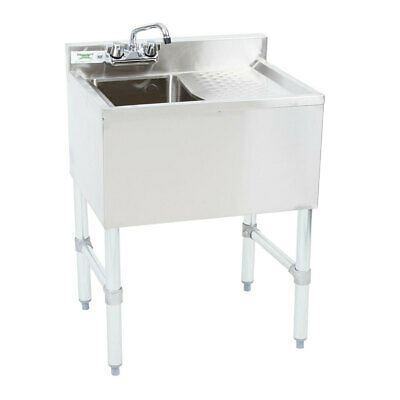 Regency 1 Bowl Underbar Sink With Drainboard And Faucet - 24 X 18 34