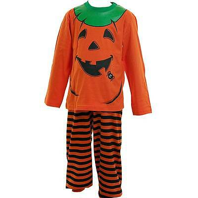 Boys Girls Dress Up Halloween Pumpkin Dress Up Pyjama Set Orange Black 2-6yrs