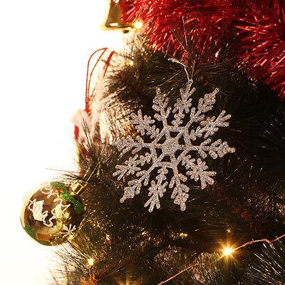 12pcs Silber Weihnachten Weiße Schneeflocken Xmas Tree Dekorationen Ornamente