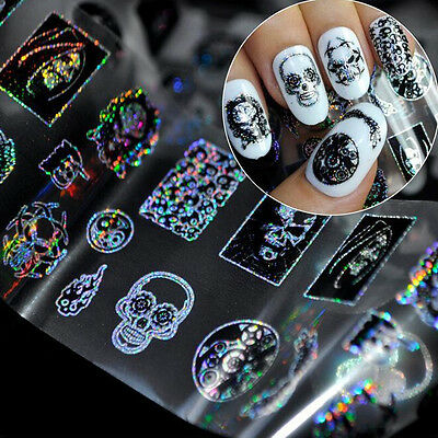 1roll Halloween Skull Glitter Transfer Manicure Nail Art - Glitter Halloween