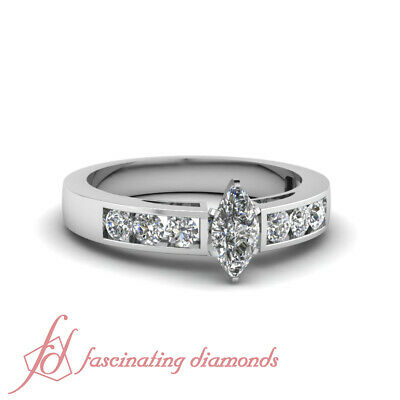 .70 Ct GIA Certified Marquise Cut SI1-D Color Diamond Channel Engagement Ring