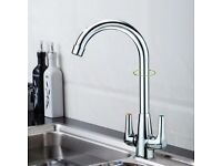 TWIN LEVER SWIVEL SPOUT MODERN CHROME KITCHEN SINK BASIN MIXER TAP