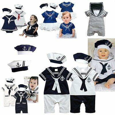 Sailor Boy Costume (Baby Boy Girl Sailor Marine Christmas Fancy Party Costume Outfit Dress)