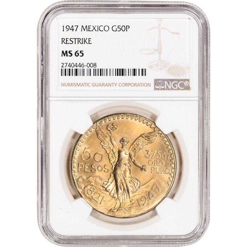 1947 Mexico Gold 50 Pesos Restrike - NGC MS65