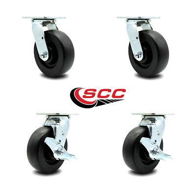 Scc 6 X 2 Polyolefin Wheel Swivel Caster Set Of 4 - 2 Swivel2 Swivel Wbrakes
