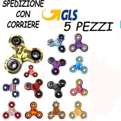 5 PZ FIDGET SPINNER GIOCO RILASSANTE CUSCINETTO 3D ANTI STRESS TASCABILE 5...