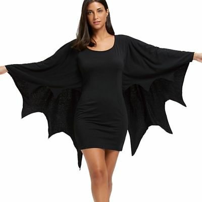 Women Halloween Costume Dress Body Con Gothic Style Long Sleeves With Bat Wings](Gothic Style Halloween Costumes)