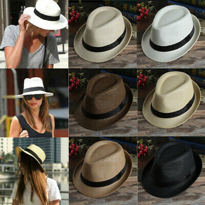 Herren Damen Strohhut Panama Fedora Trilby Gangster Hüte Hut Sonnenhut Mütze