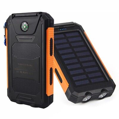 10000mAh Dual USB Pocket-sized Solar Battery Charger Solar Power Bank For Phone NEW