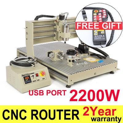 Usb 4 Axis Cnc 6090 Router Engraver 3d Carving Drilling Metal Machine 2.2kw Vfd