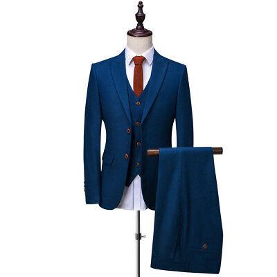 Männer Herren Anzüge (Mode Männer Blau 3 Stück Anzüge Tweed Smoking Herren Anzüge Hochzeitsanzug)