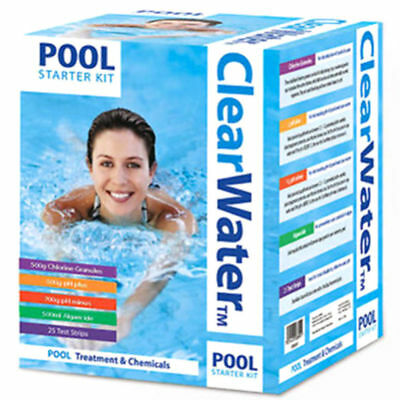 Pool Water Treatment - CLEARWATER-POOL-STARTER-KIT-WATER-TREATMENT-SWIMMING-HO POOL CLEANING KIT