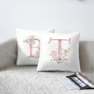 2019 Letter Pink Floral Printing Pillow Case Throw Cushion Cover Sofa Home Decor ()