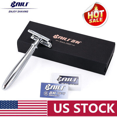 - BAILI Manual Chrome Long Handle Men's Barber Shaving Safety Blade Razor Mirror