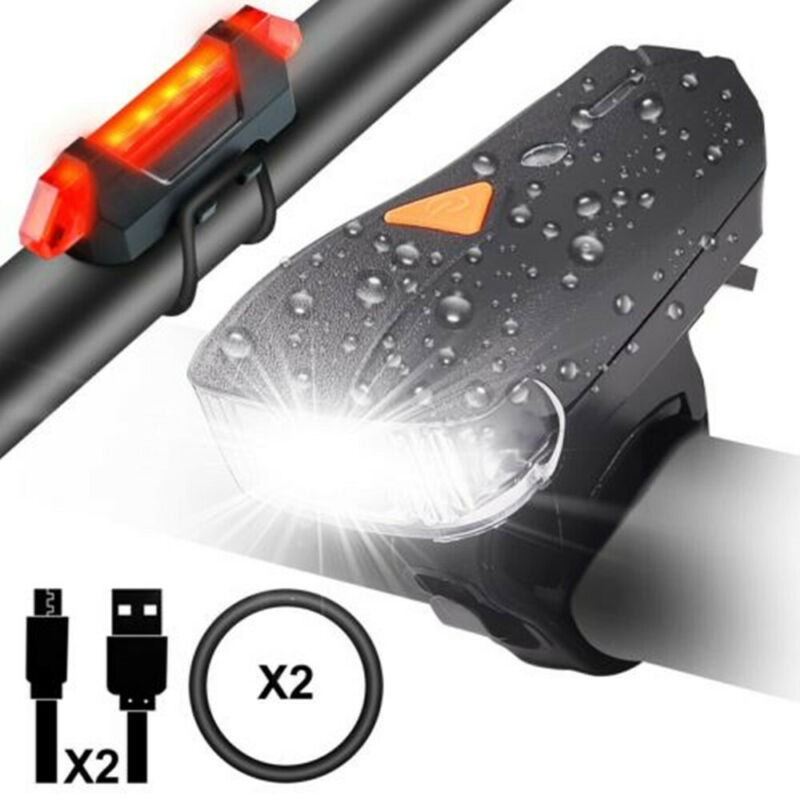 LED Fahrradbeleuchtung Set Fahrradlampe Fahrradlicht Rücklicht USB aufladbar