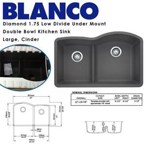 NEW Blanco 441591 Diamond 1.75 Low Divide Under Mount Double Bowl Kitchen Sink, Large, Cinder Condtion: New, Cinder