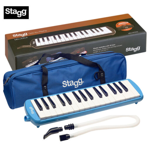 NEW Stagg MELOSTA32-BL 32 Keys Keyboard Melodica Blue w/ Case, Tube, Mouthpiece