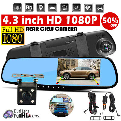 4.3'' Car 1080P Dual Lens Auto DVR Mirror Dash Cam Recorder+Rear View Backup Cam