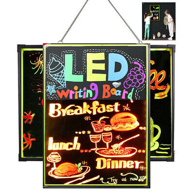 Illuminated Erasable Neon LED Message Writing Board Restaurant Menu Sign Remote (Led Illuminated Message Board)