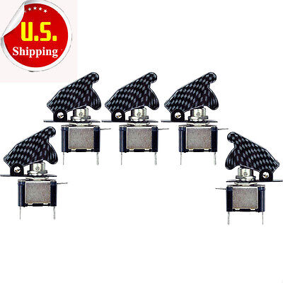 5pcs 12v Car Boat Blue Led Carbon Fiber Cover Spst Toggle Switch Control Sale