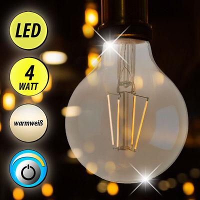 Vintage 4 Watt LED Leuchtmittel E27 warmweiß Kugel Strahler FILAMENT DIMMBAR