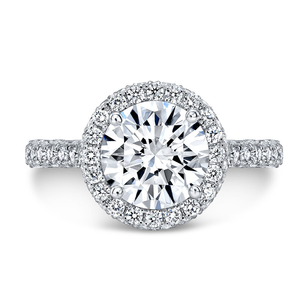2.50ctw Natural Round Halo 3 Sided Pave Vintage Royal Engagement Ring - GIA  2