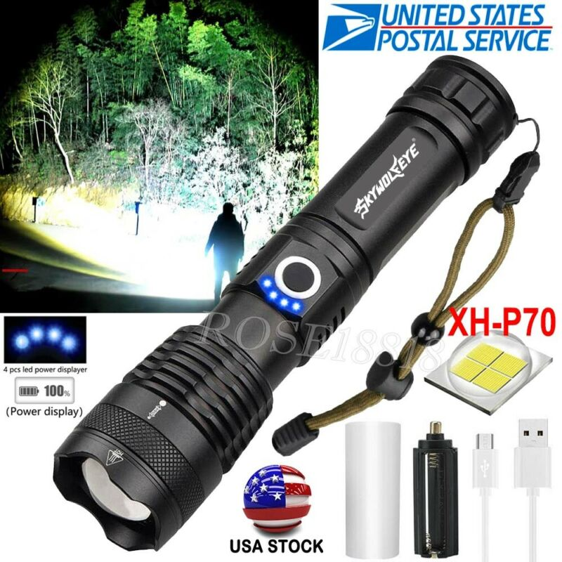 Tactical XHP50 Flashlight Torch 5Modes Zoomable LED USB Rech